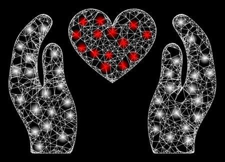 Bright web mesh love heart care hands with light spots. Illuminated vector 2d model created from love heart care hands icon. Sparkle frame mesh polygonal love heart care hands.