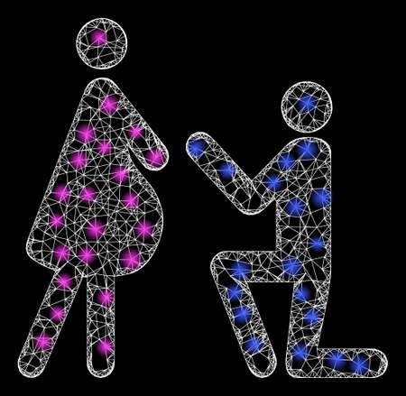 Bright web network pregnant woman engagement with glowing spots. Illuminated vector 2d constellation created from pregnant woman engagement icon.