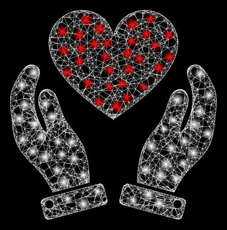 Glare web network love heart care hands with light spots. Illuminated vector 2d constellation created from love heart care hands icon. Sparkle carcass mesh polygonal love heart care hands. 向量圖像