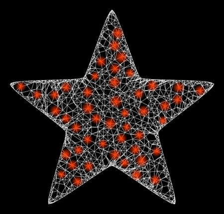 Glowing web network red star with glowing spots. Illuminated vector 2d model created from red star icon. Sparkle carcass mesh polygonal red star. Linear carcass flat mesh in eps10 vector format,