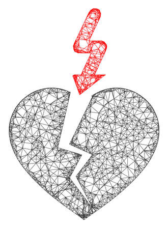 Web mesh break heart vector icon. Flat 2d carcass created from break heart pictogram. Abstract carcass mesh polygonal break heart. Wire carcass flat mesh in vector format, on a white background.