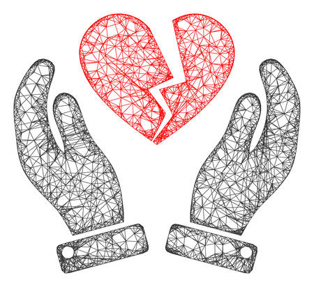 Web mesh broken heart care hands vector icon. Flat 2d carcass created from broken heart care hands pictogram. Abstract carcass mesh polygonal broken heart care hands. Illustration