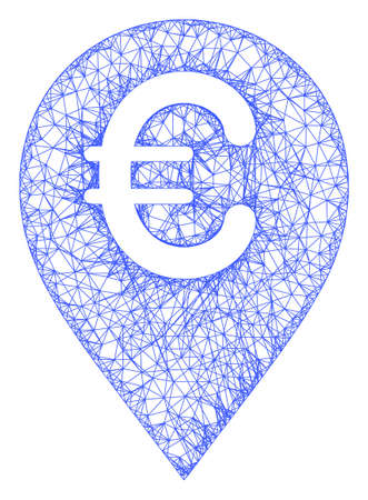 Web mesh euro map marker vector icon. Flat 2d carcass created from euro map marker pictogram. Abstract carcass mesh polygonal euro map marker. Linear carcass flat network in eps vector format, Illusztráció