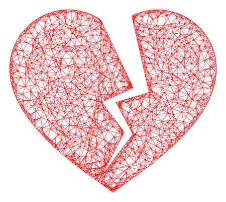 Web net broken heart vector icon. Flat 2d carcass created from broken heart pictogram. Abstract carcass mesh polygonal broken heart. Net carcass 2D mesh in vector EPS format, on a white background.