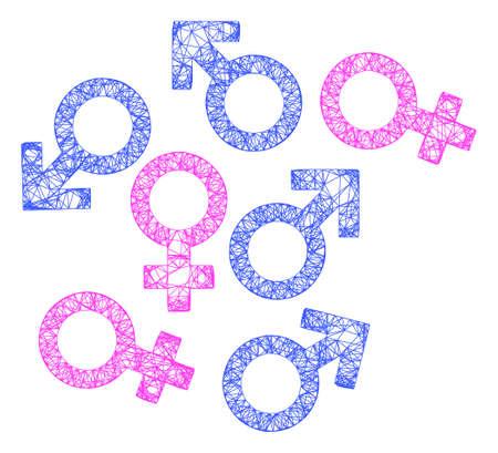 Web net gender symbols vector icon. Flat 2d carcass created from gender symbols pictogram. Abstract frame mesh polygonal gender symbols. Net frame flat mesh in vector format, Illusztráció