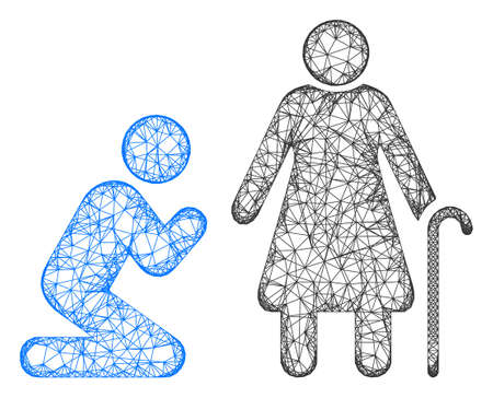 Web network man pray for grandmother vector icon. Flat 2d carcass created from man pray for grandmother pictogram. Abstract carcass mesh polygonal man pray for grandmother.