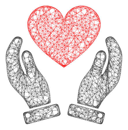 Web mesh love heart care hands vector icon. Flat 2d model created from love heart care hands pictogram. Abstract carcass mesh polygonal love heart care hands. 向量圖像