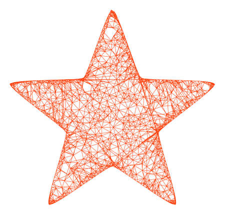 Web network red star vector icon. Flat 2d carcass created from red star pictogram. Abstract carcass mesh polygonal red star. Wire carcass 2D mesh in vector format, on a white background. 向量圖像
