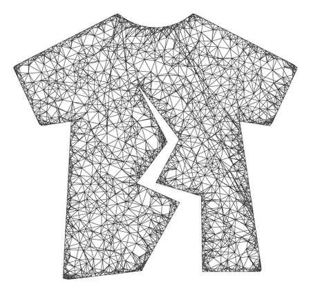 Web net torn t-shirt vector icon. Flat 2d carcass created from torn t-shirt pictogram. Abstract frame mesh polygonal torn t-shirt. Net frame 2D mesh in vector format, on a white background.