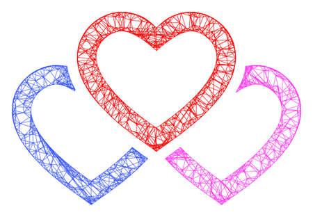 Web mesh triple love hearts vector icon. Flat 2d carcass created from triple love hearts pictogram. Abstract frame mesh polygonal triple love hearts. Linear carcass flat mesh in eps vector format,
