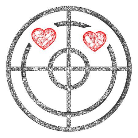 Web mesh love hearts radar vector icon. Flat 2d model created from love hearts radar pictogram. Abstract frame mesh polygonal love hearts radar. Wire frame 2D mesh in vector format,