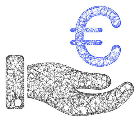 Web network hand give euro vector icon. Flat 2d carcass created from hand give euro pictogram. Abstract carcass mesh polygonal hand give euro. Linear carcass 2D mesh in eps vector format,