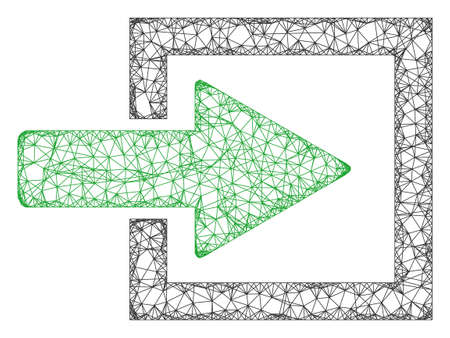 Web mesh import arrow vector icon. Flat 2d carcass created from import arrow pictogram. Abstract frame mesh polygonal import arrow. Wire frame flat mesh in vector format, on a white background.