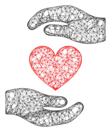 Web mesh love heart hands protection vector icon. Flat 2d carcass created from love heart hands protection pictogram. Abstract frame mesh polygonal love heart hands protection.