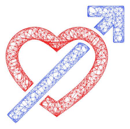 Web mesh heart penetration arrow vector icon. Flat 2d carcass created from heart penetration arrow pictogram. Abstract carcass mesh polygonal heart penetration arrow.
