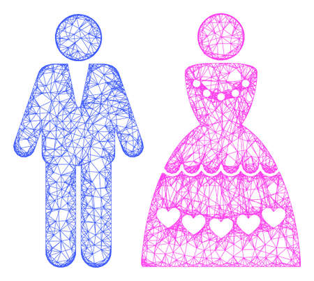 Web mesh marriage couple vector icon. Flat 2d carcass created from marriage couple pictogram. Abstract carcass mesh polygonal marriage couple. Linear frame flat mesh in vector format,