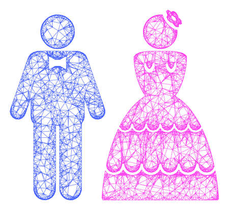 Web network wedding pair vector icon. Flat 2d carcass created from wedding pair pictogram. Abstract carcass mesh polygonal wedding pair. Linear carcass flat mesh in vector EPS format,