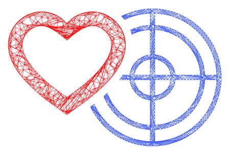Web mesh romantic heart target vector icon. Flat 2d carcass created from romantic heart target pictogram. Abstract carcass mesh polygonal romantic heart target. 向量圖像