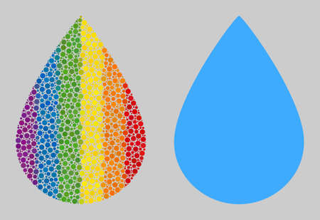 Water drop collage icon of round dots in various sizes and rainbow bright shades. A dotted LGBT-colored Water drop for lesbians, gays, bisexuals, and transgenders. Vector icon in LGBT flag colors.