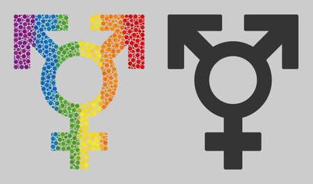 Polyandry sex symbol composition icon of round dots in variable sizes and spectrum multicolored shades. A dotted LGBT-colored Polyandry sex symbol for lesbians, gays, bisexuals, and transgenders. Stock Illustratie