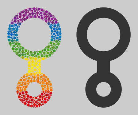 Third gender symbol mosaic icon of round dots in different sizes and spectrum bright color tinges. A dotted LGBT-colored Third gender symbol for lesbians, gays, bisexuals, and transgenders. 일러스트
