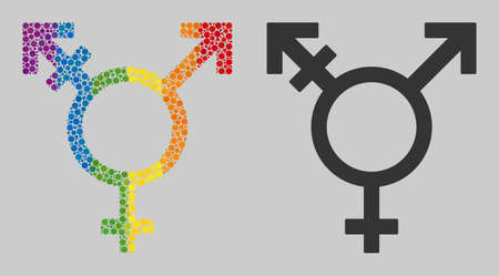 Three gender symbol composition icon of circle spots in different sizes and spectrum color tones. A dotted LGBT-colored Three gender symbol for lesbians, gays, bisexuals, and transgenders.