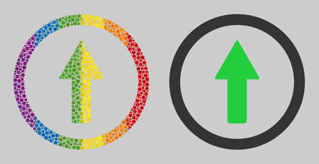 Rounded up arrow composition icon of round dots in variable sizes and rainbow colored color tinges. A dotted LGBT-colored Rounded up arrow for lesbians, gays, bisexuals, and transgenders. Illustration