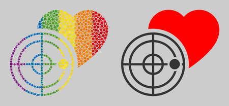 Love heart radar mosaic icon of circle elements in different sizes and rainbow color tones. A dotted LGBT-colored Love heart radar for lesbians, gays, bisexuals, and transgenders.