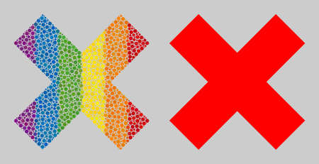 X-cross composition icon of filled circles in various sizes and spectrum colored shades. A dotted LGBT-colored X-cross for lesbians, gays, bisexuals, and transgenders. Vector icon in LGBT flag colors.