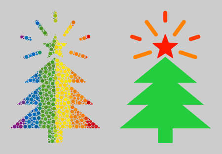 Shine Christmas tree composition icon of round dots in various sizes and rainbow colored color tints. A dotted LGBT-colored Shine Christmas tree for lesbians, gays, bisexuals, and transgenders.