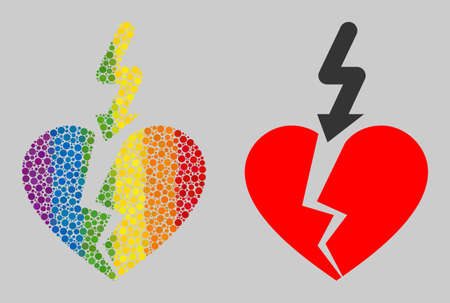 Break love heart collage icon of round items in various sizes and spectrum colored color tinges. A dotted LGBT-colored Break love heart for lesbians, gays, bisexuals, and transgenders.