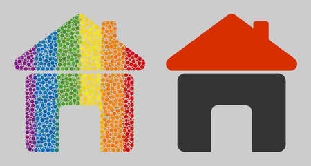 House composition icon of round dots in different sizes and rainbow colored color tones. A dotted LGBT-colored House for lesbians, gays, bisexuals, and transgenders.