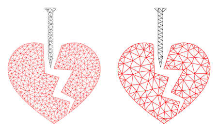 Triangular vector break valentine heart icon. Mesh carcass break valentine heart image in low poly style with connected triangles, nodes and linear items.