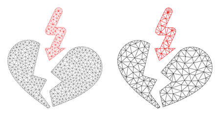 Net vector breakup heart icon. Mesh wireframe breakup heart image in low poly style with combined triangles, dots and lines. Mesh composition of triangulated breakup heart, on a white background. Illustration