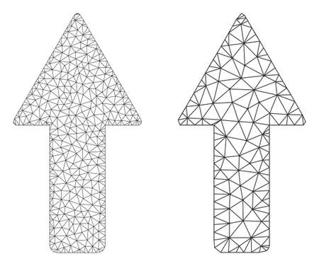 Network vector arrow up icon. Mesh carcass arrow up image in lowpoly style with organized triangles, nodes and linear items. Mesh model of triangulated arrow up, on a white background.