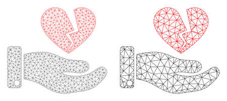 Mesh vector break heart offer icon. Polygonal wireframe break heart offer image in lowpoly style with connected triangles, nodes and lines. Mesh concept of triangulated break heart offer,
