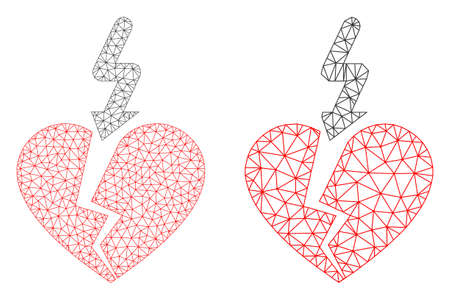 Mesh vector break love heart icon. Polygonal wireframe break love heart image in lowpoly style with structured triangles, points and linear items. Mesh illustration of triangulated break love heart,