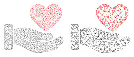 Mesh vector hand offer love heart icon. Mesh wireframe hand offer love heart image in lowpoly style with connected triangles, nodes and linear items. Mesh model of triangulated hand offer love heart, 向量圖像