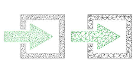 Network vector import arrow icon. Mesh wireframe import arrow image in lowpoly style with organized triangles, points and linear items. Mesh model of triangulated import arrow, on a white background.