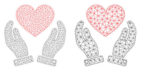 Mesh vector love heart care hands icon. Mesh wireframe love heart care hands image in lowpoly style with combined triangles, dots and linear items.