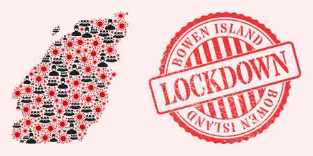 Vector mosaic Bowen Island map of corona virus, masked people and red grunge lockdown stamp. Virus elements and people in masks inside Bowen Island map. 向量圖像