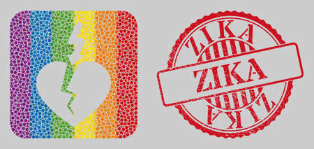 Distress Zika seal and mosaic break heart hole for LGBT. Dotted rounded rectangle mosaic is around break heart carved shape. LGBT spectrum colors. Red rounded grunge seal stamp with Zika message.