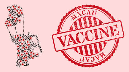 Vector collage Macau map of flu virus, vaccine icons, and red grunge vaccination stamp. Virus particles and vaccination needles inside Macau map.