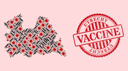 Vector collage Utrecht Province map of corona virus, inoculation icons, and red grunge vaccination stamp. Virus particles and vaccination particles inside Utrecht Province map.