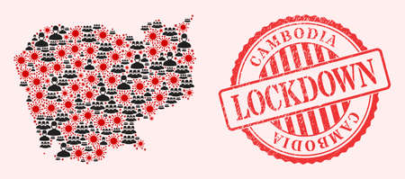 Vector collage Cambodia map of SARS virus, masked men and red grunge lockdown seal. Virus items and men in masks inside Cambodia map. Red seal with corroded rubber texture and LOCKDOWN tag.  イラスト・ベクター素材