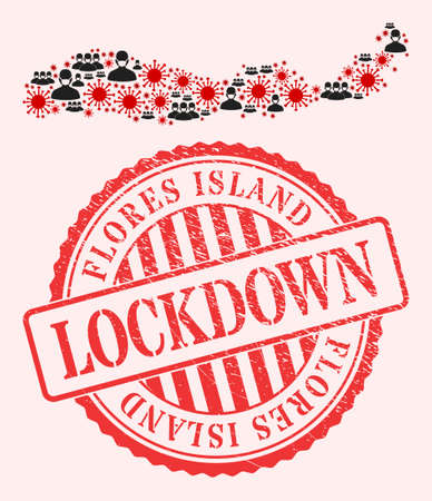 Vector mosaic Flores Island of Indonesia map of corona virus, masked men and red grunge lockdown stamp. Virus elements and men in masks inside Flores Island of Indonesia map.