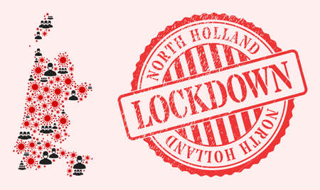 Vector collage North Holland map of corona virus, masked men and red grunge lockdown stamp. Virus cells and men in masks inside North Holland map.
