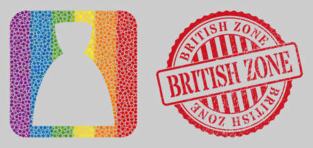 Distress British Zone stamp and mosaic female dress stencil for LGBT. Dotted rounded rectangle mosaic is around female dress cut out shape. LGBT rainbow colors. Ilustração