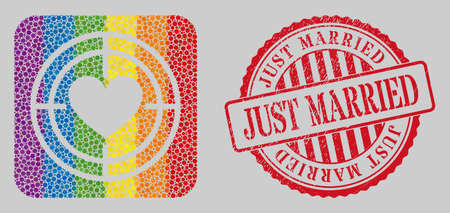 Grunge Just Married stamp seal and mosaic love target hole for LGBT. Dotted rounded rectangle mosaic is around love target hole. LGBT rainbow colors.