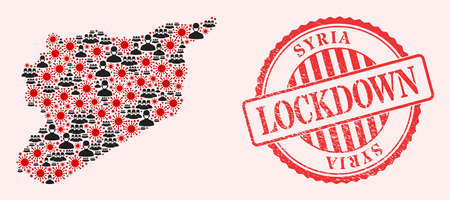 Vector collage Syria map of flu virus, masked men and red grunge lockdown seal stamp. Virus elements and men in masks inside Syria map. Red seal with grunge rubber texture and LOCKDOWN word.
